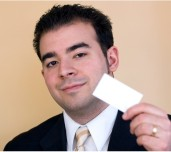 man with business card